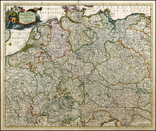 Netherlands, Germany, Austria, Poland, Hungary, Czech Republic & Slovakia and Baltic Countries Map By Frederick De Wit