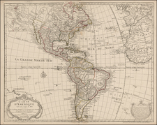 South America and America Map By Guillaume De L'Isle / Philippe Buache