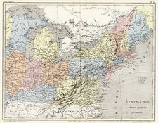 New England, Mid-Atlantic and Midwest Map By Adolphe Hippolyte Dufour