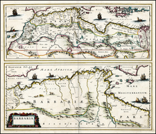 North Africa Map By Johannes Blaeu / Abraham Wolfgang