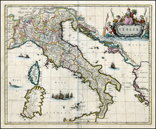 Italy and Balearic Islands Map By Johannes Blaeu
