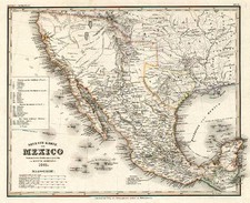 Texas, Southwest, Mexico and California Map By Joseph Meyer  &  Carl Radefeld