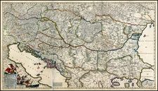 Austria, Hungary, Romania, Czech Republic & Slovakia, Balkans and Turkey Map By Frederick De Wit / Abraham Wolfgang