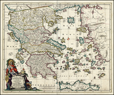 Greece Map By Nicolaes Visscher I