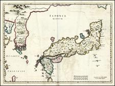 Japan and Korea Map By Johannes Blaeu