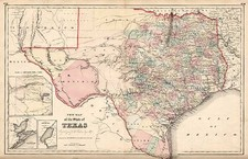 Texas Map By Joseph Hutchins Colton