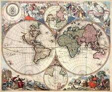 World, World, Celestial Maps and Curiosities Map By Peter Schenk