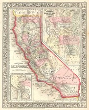 Southwest, Rocky Mountains and California Map By Samuel Augustus Mitchell Jr.