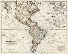 South America and America Map By Jean André Dezauche