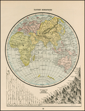 World and Eastern Hemisphere Map By George F. Cram