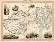 Asia, China, India and Central Asia & Caucasus Map By John Tallis