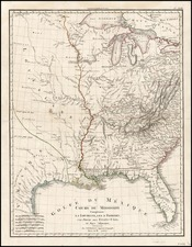 South, Texas, Midwest and Plains Map By Jean Baptiste Poirson