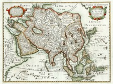 Asia and Asia Map By Melchior Tavernier  &  Petrus Bertius