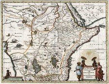 Africa, East Africa and West Africa Map By Matthaeus Merian