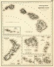 Hawaii, Australia & Oceania, Oceania, New Zealand and Hawaii Map By Joseph Hutchins Colton