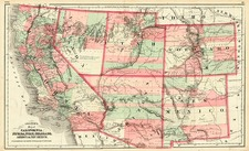 Southwest, Rocky Mountains and California Map By G.W.  & C.B. Colton