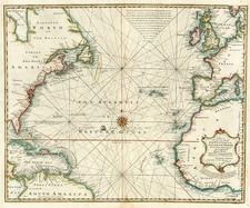 World, Atlantic Ocean, United States and North America Map By Emanuel Bowen
