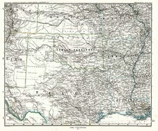 South, Texas, Plains and Southwest Map By Adolf Stieler