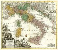 Italy Map By Matthaus Seutter
