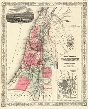 Asia and Holy Land Map By Benjamin P Ward  &  Alvin Jewett Johnson
