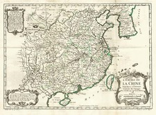 Asia, China and Korea Map By Jacques Nicolas Bellin