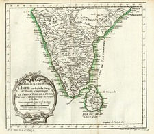 Asia and India Map By Jacques Nicolas Bellin
