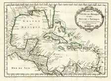 South, Southeast, Caribbean and Central America Map By Jacques Nicolas Bellin