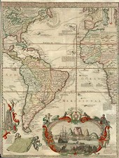World, Atlantic Ocean, North America, South America and America Map By Hendrick De Leth