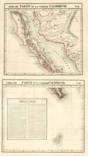 Mexico and Baja California Map By Philippe Marie Vandermaelen
