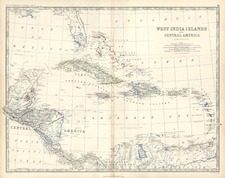 Caribbean and Central America Map By W. & A.K. Johnston