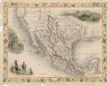 Texas, Southwest, Rocky Mountains and California Map By John Tallis