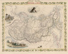 World, Polar Maps, Asia, Central Asia & Caucasus and Russia in Asia Map By John Tallis