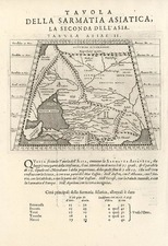Asia, Central Asia & Caucasus and Russia in Asia Map By Giovanni Antonio Magini