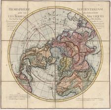 World, Northern Hemisphere, Polar Maps and Pacific Map By Guillaume De L'Isle / Jean André Dezauche