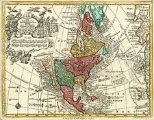 South America and America Map By Matthaus Seutter