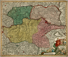 Austria and Czech Republic & Slovakia Map By Matthaus Seutter