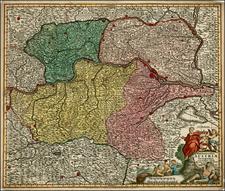 Austria and Czech Republic & Slovakia Map By Matthaus Seutter
