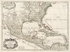 South, Southeast, Texas, Southwest, Rocky Mountains and Caribbean Map By Jean André Dezauche