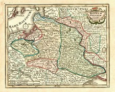 Europe, Poland and Baltic Countries Map By Adam Friedrich Zurner / Johann Christoph Weigel