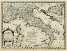 Italy and Balearic Islands Map By Jean-Baptiste Nolin