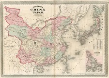Asia, China, Japan and Korea Map By Alvin Jewett Johnson