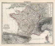 Europe and France Map By Adolf Stieler