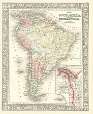 South America Map By Samuel Augustus Mitchell Jr.