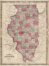 Midwest Map By Benjamin P Ward  &  Alvin Jewett Johnson