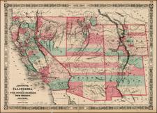 Southwest, Rocky Mountains and California Map By Benjamin P Ward  &  Alvin Jewett Johnson