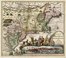 New England, Mid-Atlantic and Canada Map By Matthaus Seutter