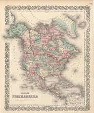 North America Map By G.W.  & C.B. Colton