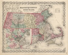 New England Map By Joseph Hutchins Colton