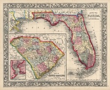 Southeast Map By Samuel Augustus Mitchell Jr.