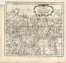 Asia, Central Asia & Caucasus and Russia in Asia Map By Jacques Nicolas Bellin